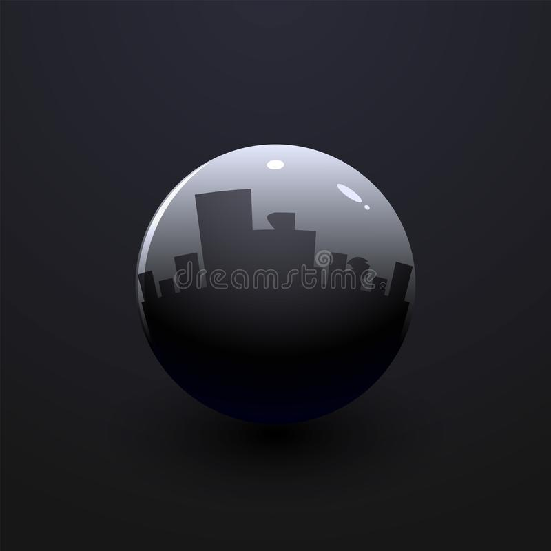 Silver ball with shadow on a black background, vector illustration, eps 10 vector illustration
