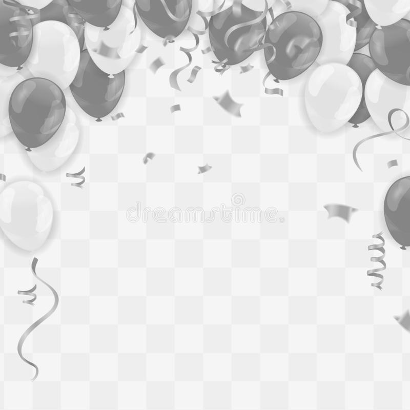 Silver balloons illustration confetti and ribbons flag Celebration background template typography for greeting card, festive post. Er etc vector illustration