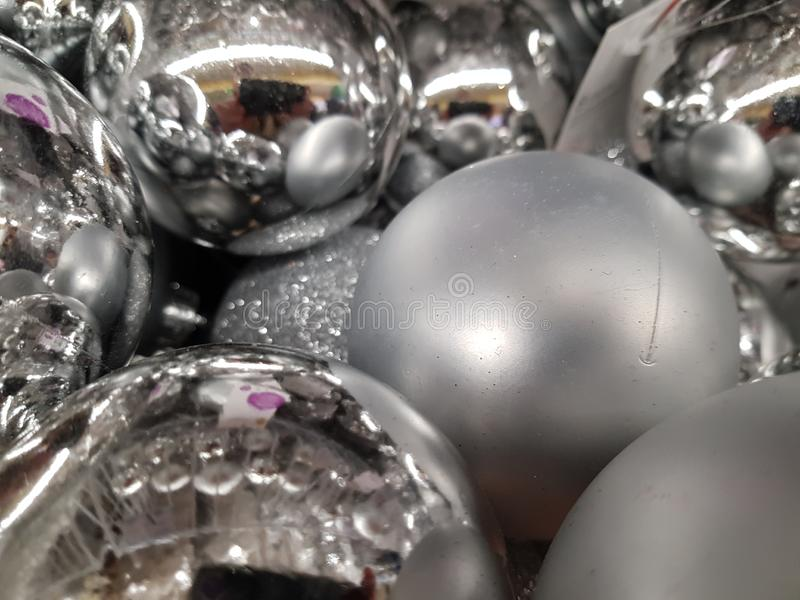 Silver balls. Christmas decoration - silver balls royalty free stock images