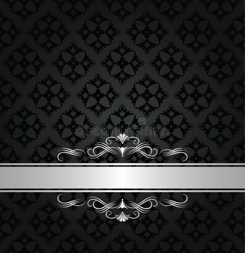 Silver banner on black floral seamless pattern stock photo