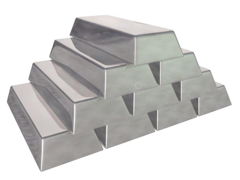 Silver bars stock photo