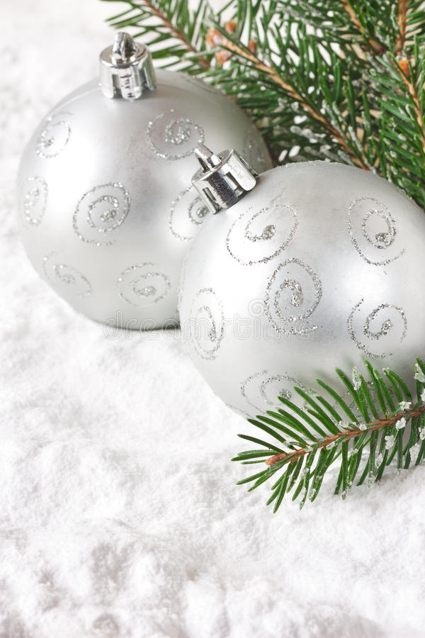 Download Silver baubles. stock photo. Image of baubles, lights - 26855960