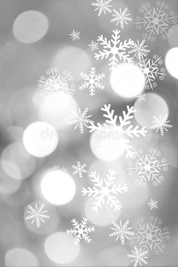 Beautiful silver and white background with snowflakes stock image