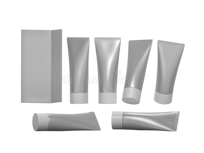 Silver beauty hygiene tube with clipping path stock illustration