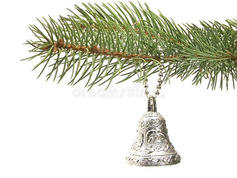 Download Silver bell decoration stock photo. Image of seasonal, needles - 336644