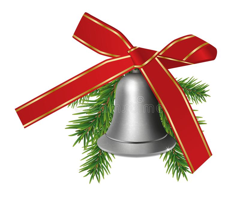 Silver bell with fir branches and red bow ribbon isolated on white background. Christmas or New Year elements for design. Vector vector illustration