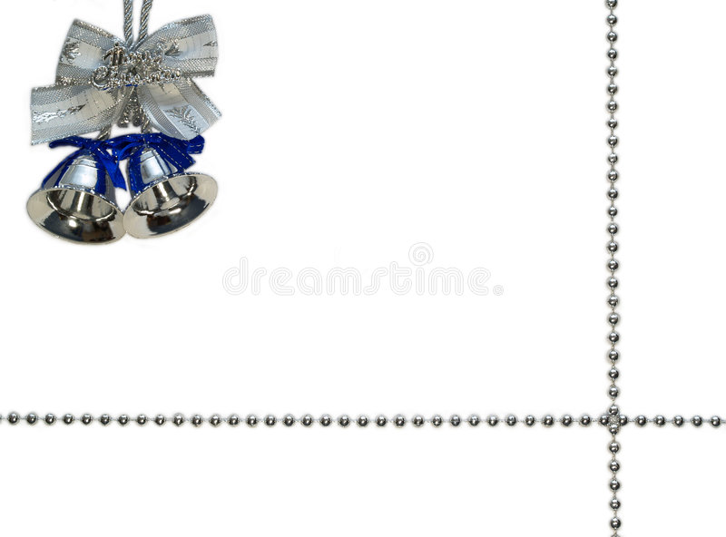 Silver bells and ribbon royalty free stock images