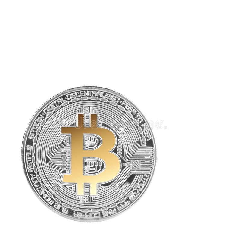 Silver bitcoin isolated royalty free stock image