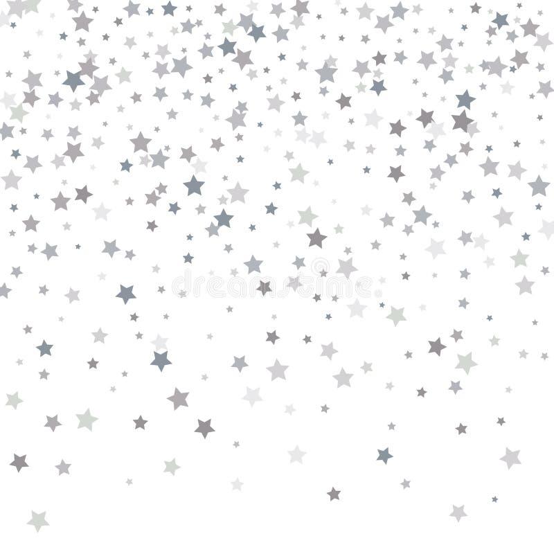 Silver blänker fallande stjärnor Silvergnistrandestjärna på vit backg stock illustrationer