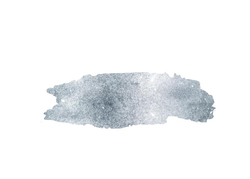 Silver blänker vektorn för folieborsteslaglängden Argent målarfärgsuddbakgrund som isoleras på vit Glödmetallmodell stock illustrationer