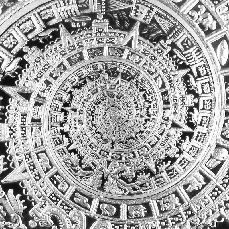 Silver black ancient antique traditional spiral aztec ornament pattern decoration design background. Surrealistic alien design ele royalty free stock photo
