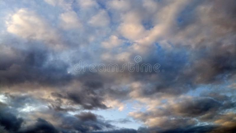 Silver Black And Blue Clouds. Formation Of Beautiful Colors royalty free stock photography