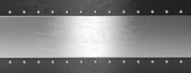 Silver black metal plate with bolts, banner. 3d illustration stock illustration