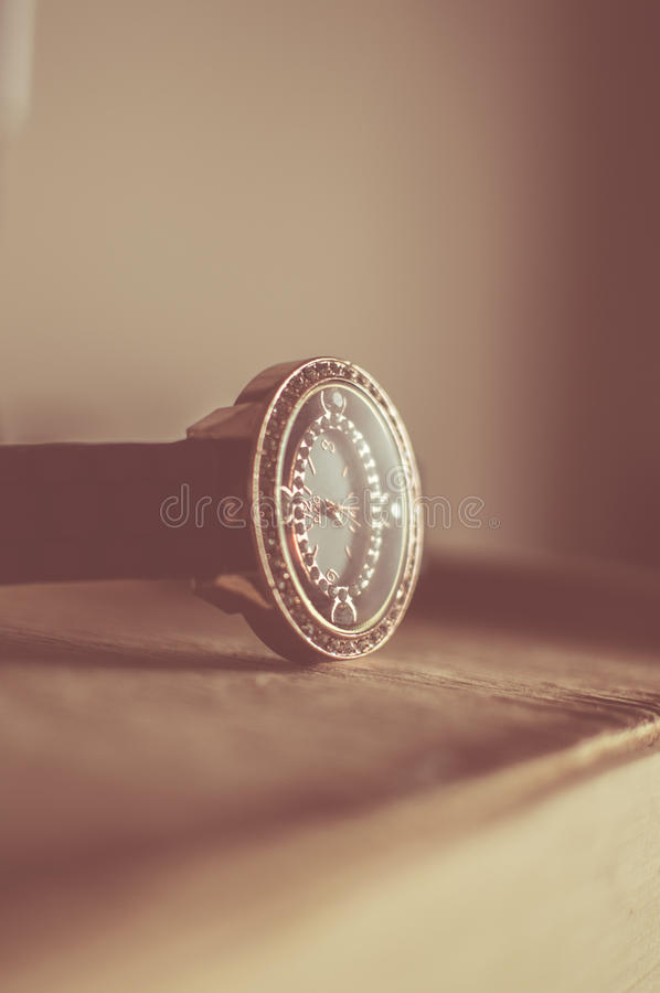 Silver and Black Round Analog Watch royalty free stock image
