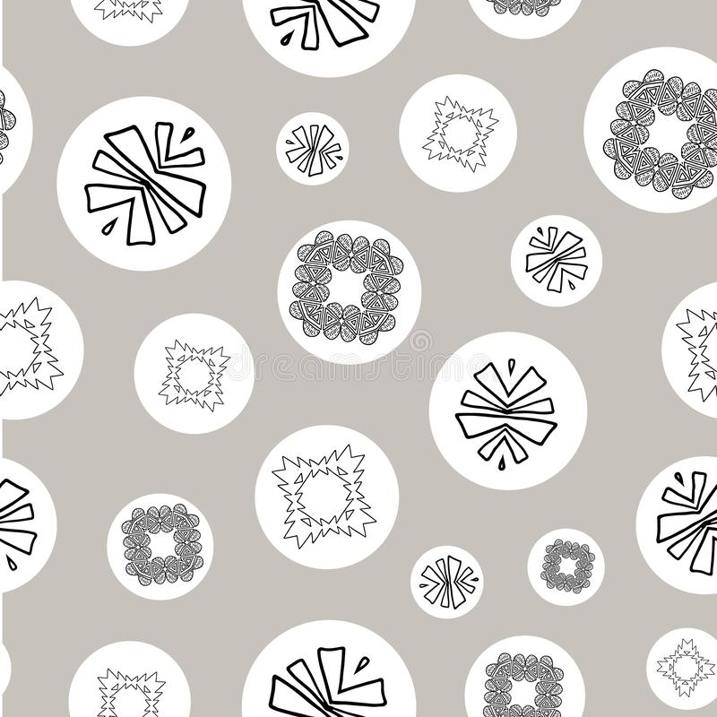 Silver, black and white tribal abstract seamless pattern. Great for folk modern wallpaper, backgrounds, invitations, packaging design projects, scrapbooking vector illustration