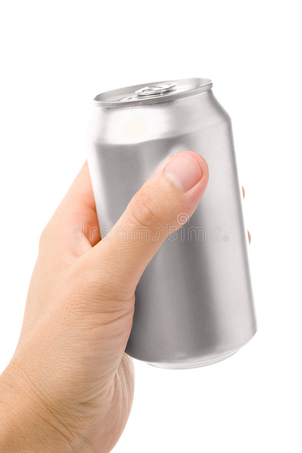 Silver blank soda can. Blank soda can with white background royalty free stock photo