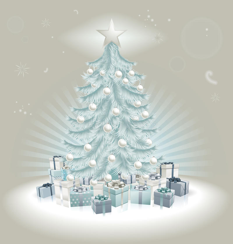 Free Silver Blue Christmas Tree, Balls And Gifts Stock Image - 21531561
