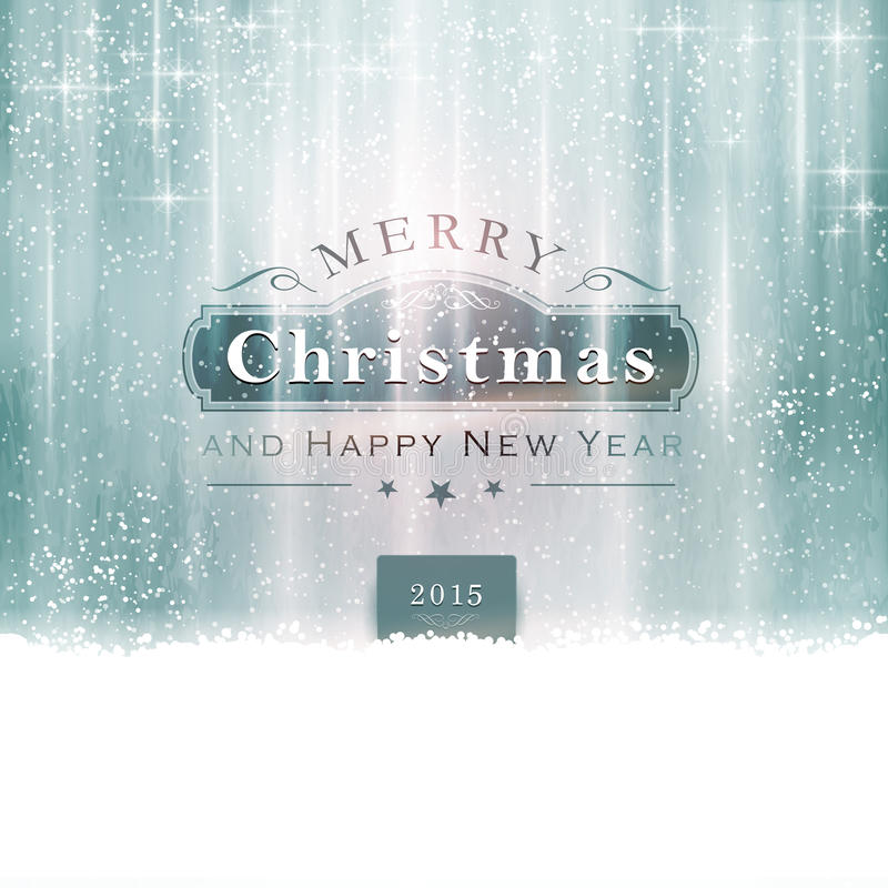 Silver blue Merry Christmas Typography royalty free illustration