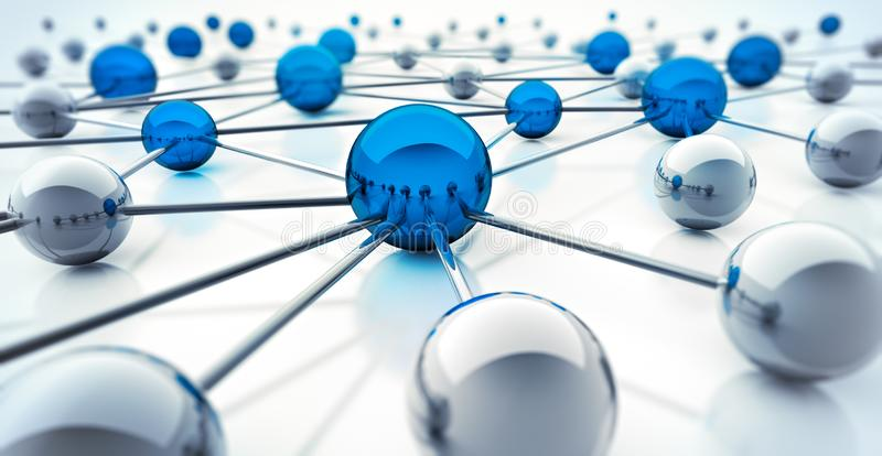 Silver and blue spheres connected stock illustration