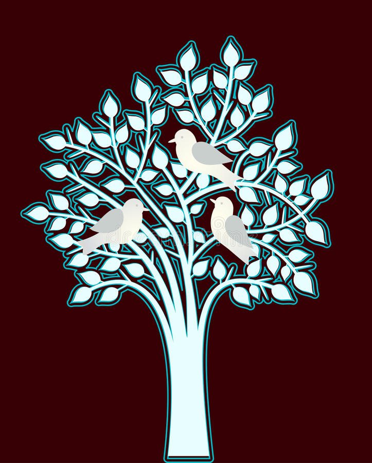 Silver blue tree with birds. Silver blue tree (outlined) with three birds nestled on branches stock illustration