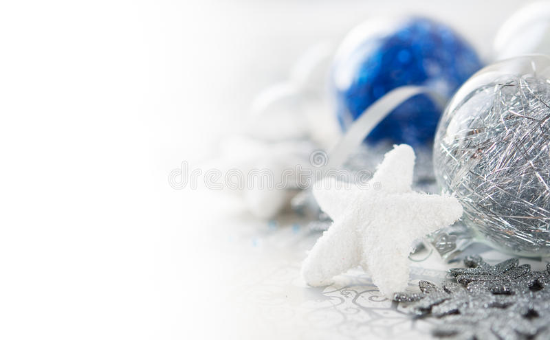 Silver and blue xmas decorations stock photography