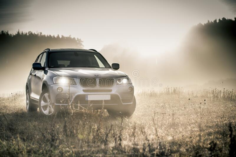 Silver Bmw Suv royalty free stock photo