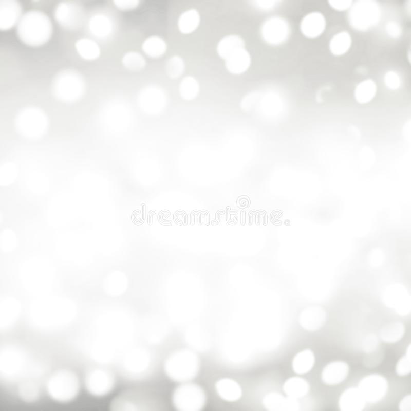 Silver bokeh lights Christmas Background. Abstract Festive Card. With white glittering stars stock photo