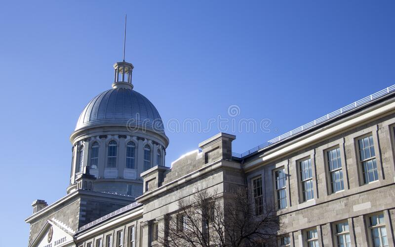 Silver Bonsecours dome. The silver dome of Montreal`s Bonsecours Market. Located in Old Montreal, it is recognized as one of Canada`s ten finest heritage stock images