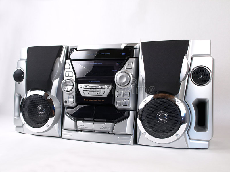 Silver Boom Box Stereo angle. Silver Boom Box Stereo with CD Tape Tuner Aux stock photos