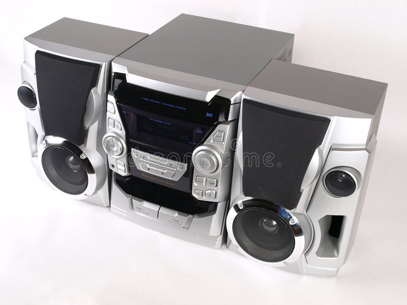 Silver Boom Box Stereo top angle. Silver Boom Box Stereo with CD Tape Tuner Aux royalty free stock photo