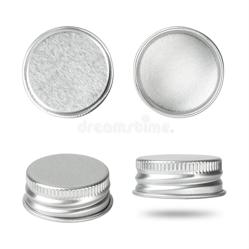Silver bottle cap isolated on white background. Group of beverage lid for your design.  Clipping paths stock photo