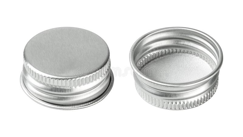 Silver bottle cap isolated on white background. Group of beverage lid for your design.  Clipping paths stock photography