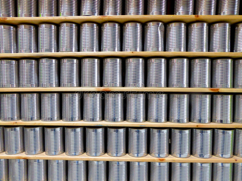 Silver cans stock image