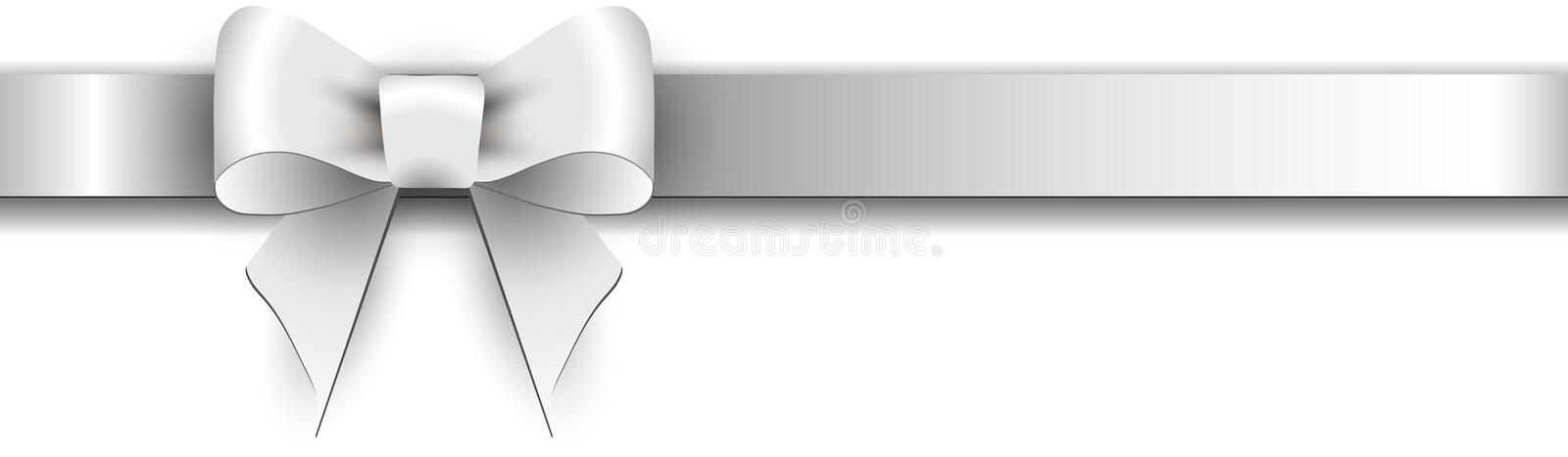 Silver bow on a white background. Silver satin bow on a white background stock illustration