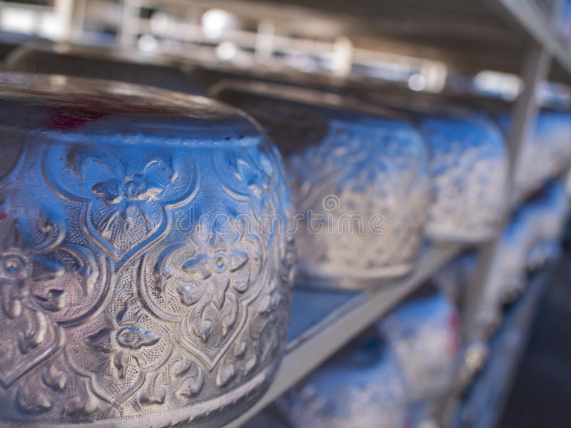 Silver Bowls Long Rows. After Cleaning royalty free stock photography
