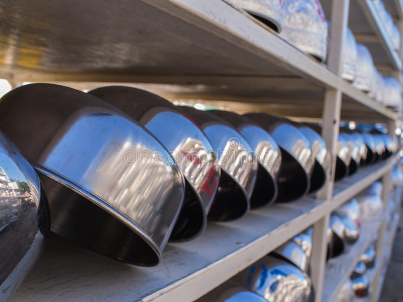 Silver Bowls Long Rows. After Cleaning stock photos