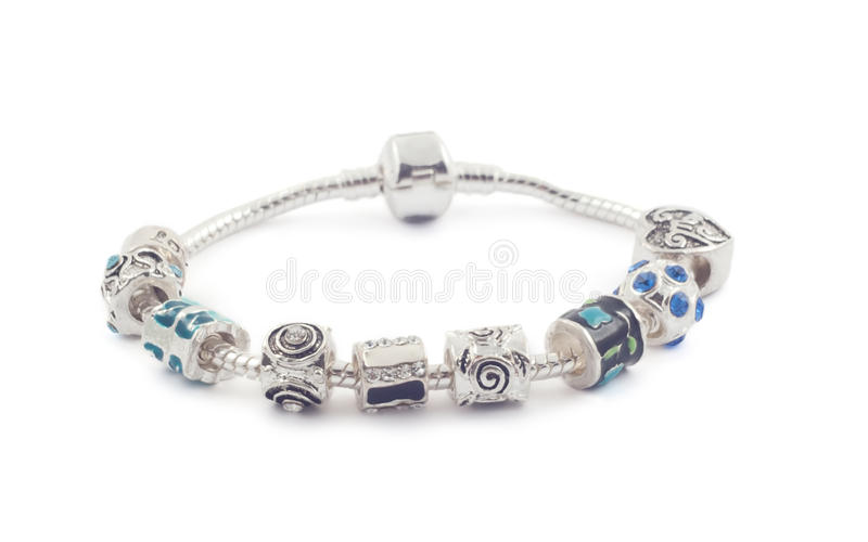 Silver bracelet with beads on white royalty free stock photography