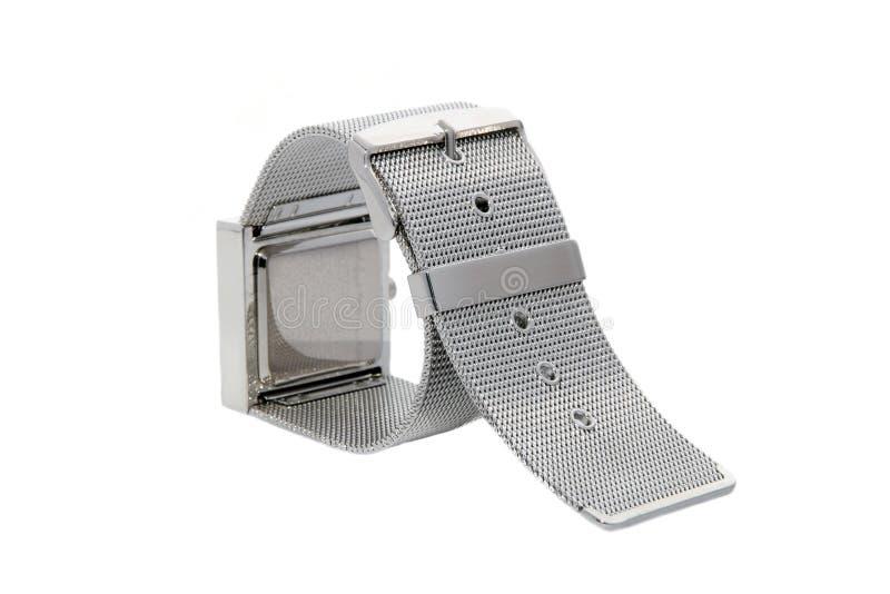Silver bracelet watch. Bracelet of silver stainless steel watch stock photo