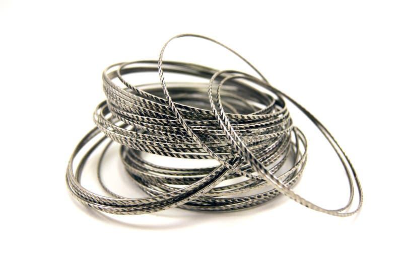 Silver bracelets stock photos