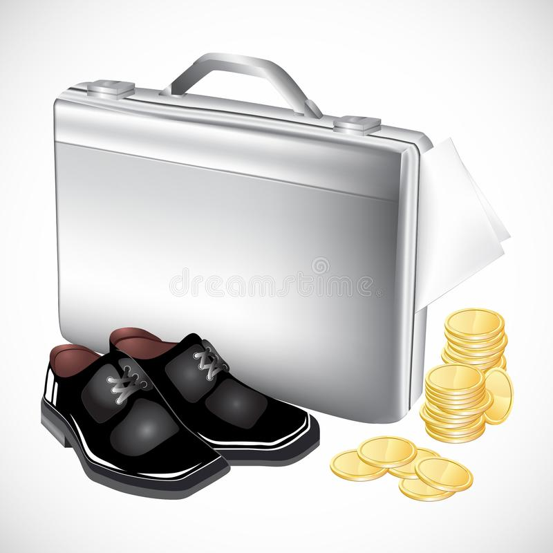 Silver Briefcase With Boots And Coins Royalty Free Stock Image