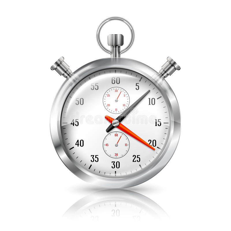 Silver bright stopwatch clock with reflection, royalty free illustration