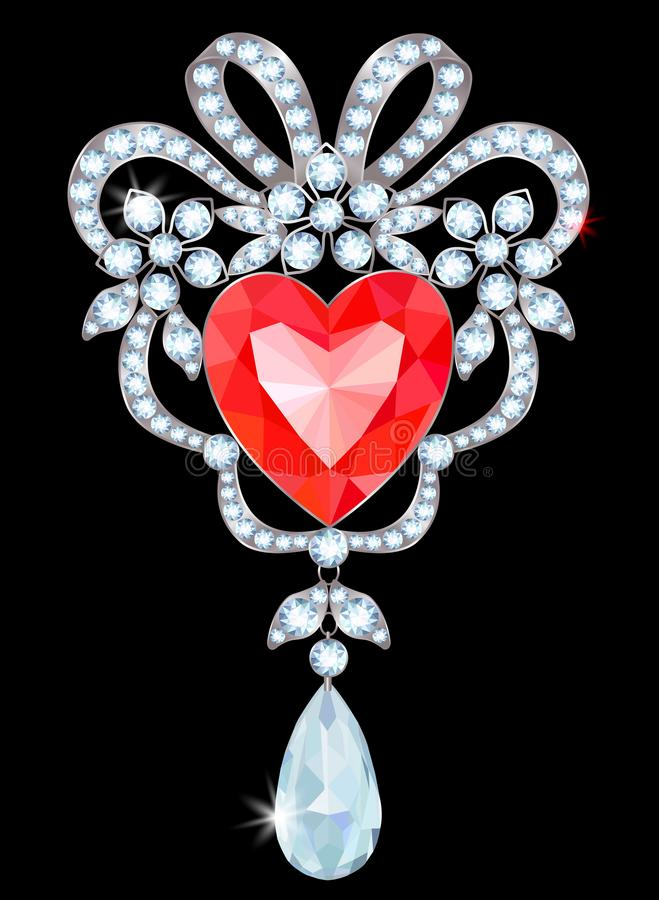 Brooch with ruby. Silver brooch with diamonds and heart-shaped ruby stock illustration