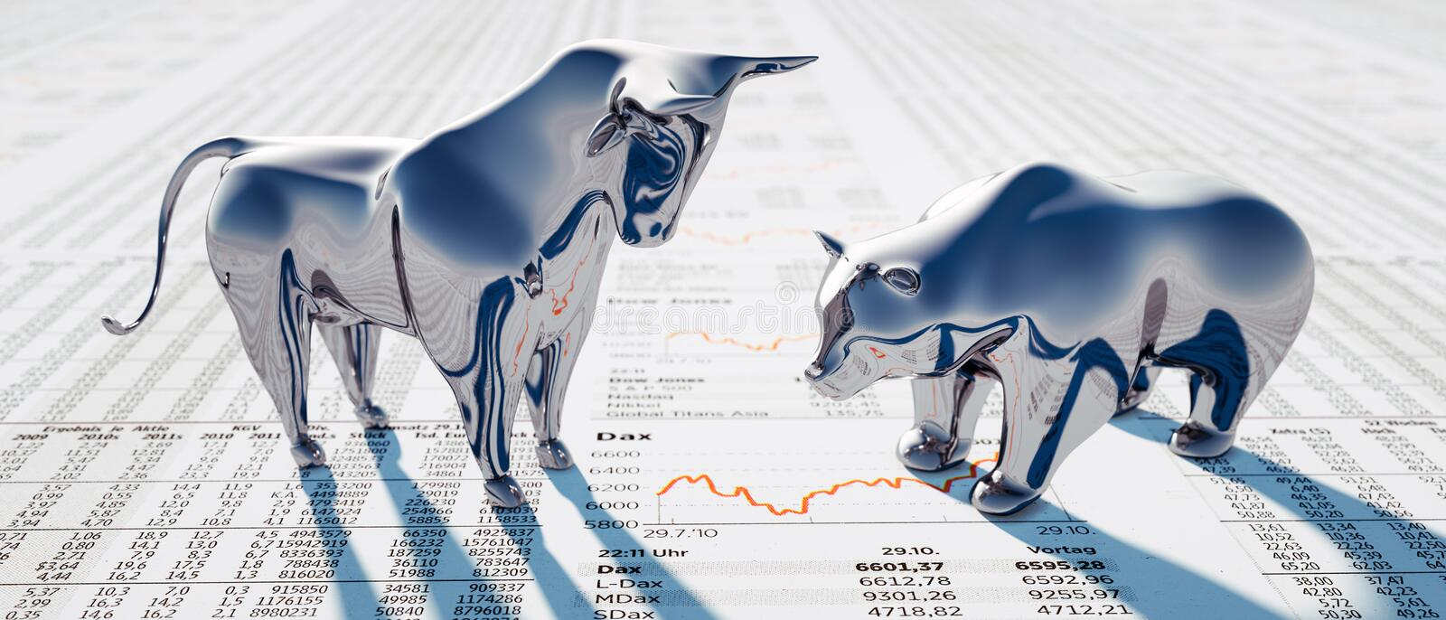 Silver bull and bear - concept stock market royalty free stock images