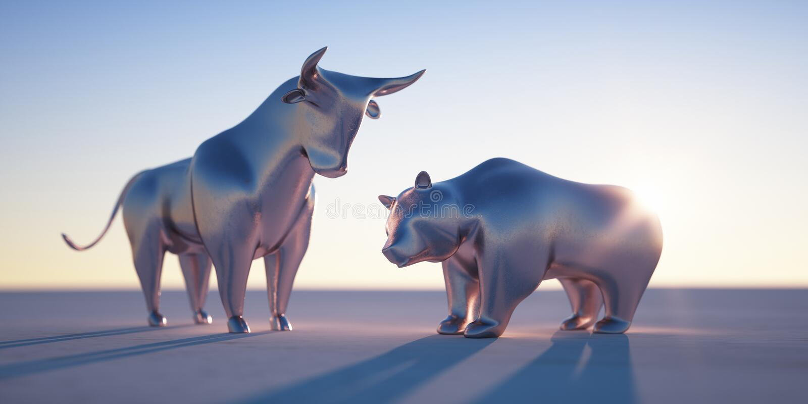 Silver bull and bear - concept stock market vector illustration