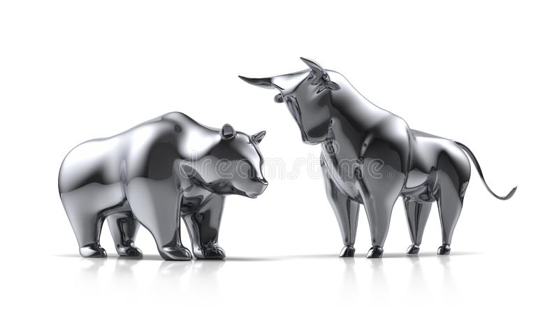 Silver bull and bear on a white background vector illustration