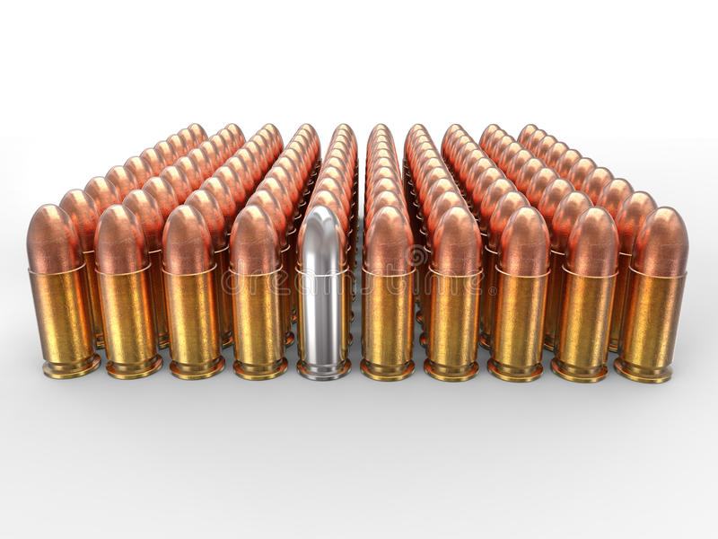 Silver bullet stands out in a pack of ammo. On white background royalty free stock images
