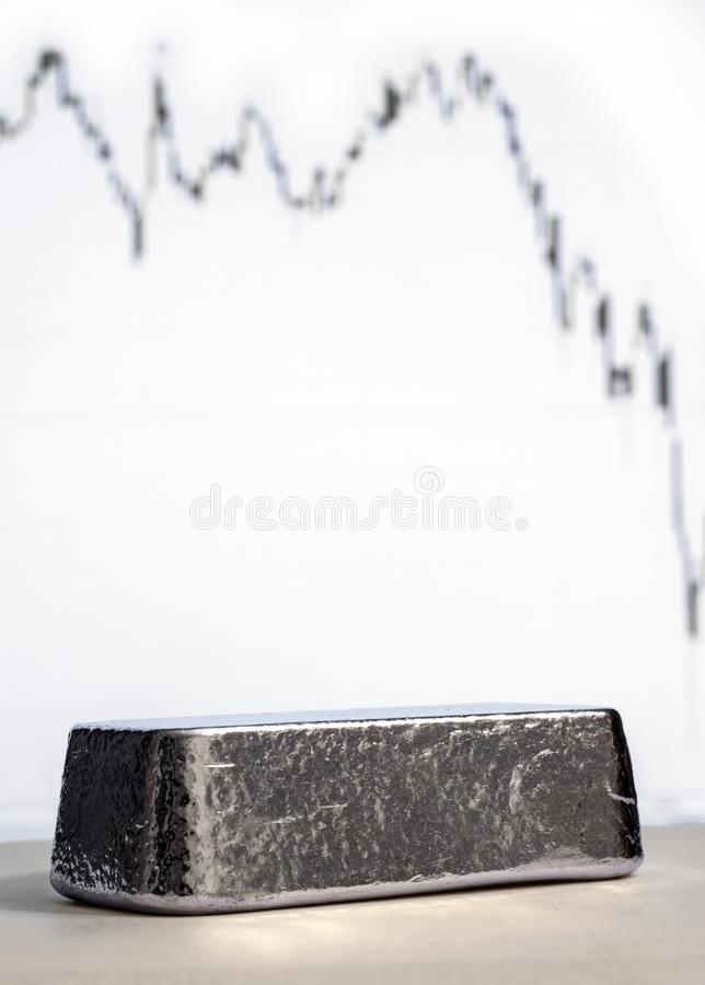 Silver bullion on the background of a downward graph. royalty free stock photos