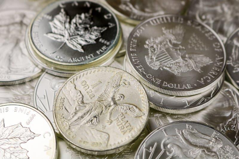Silver Bullion Coins stock image