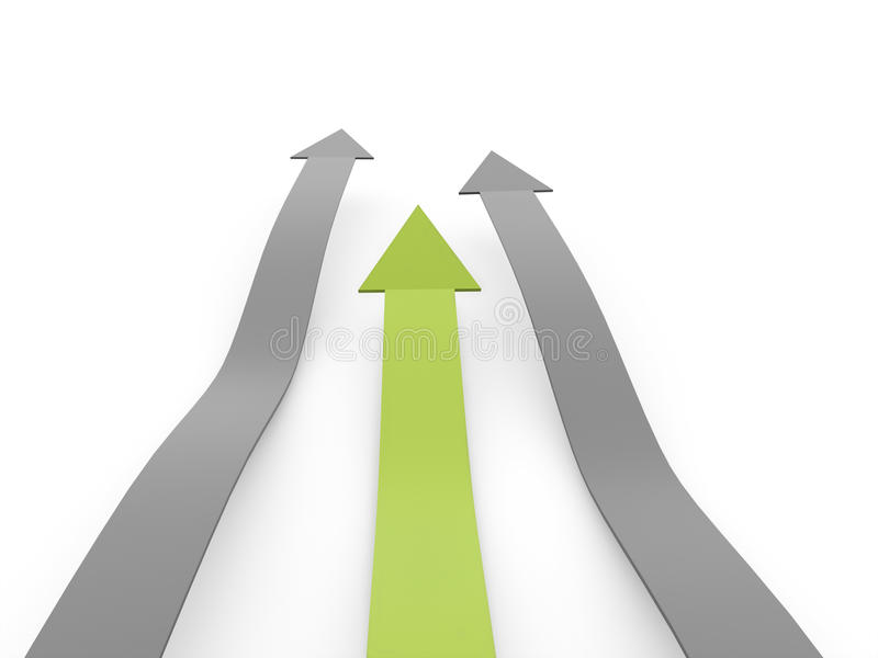 Download Silver Business Arrows Concept One Is Green Rendered Stock Illustration - Image: 42157324