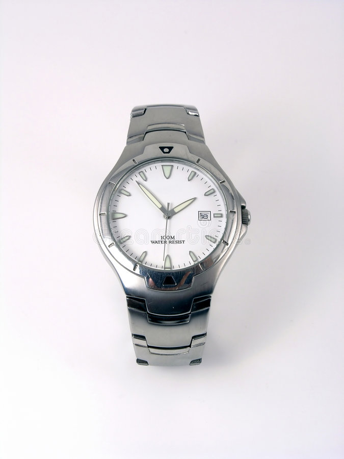 Silver business watch royalty free stock photography